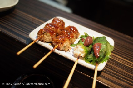 Meatballs and chicken with plum sauce