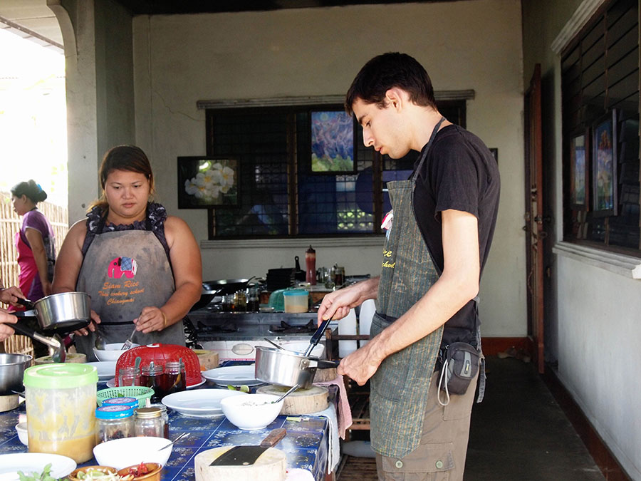 Jeff cooking Thai food at Siam Rice Cooking School in Chiang Mai.