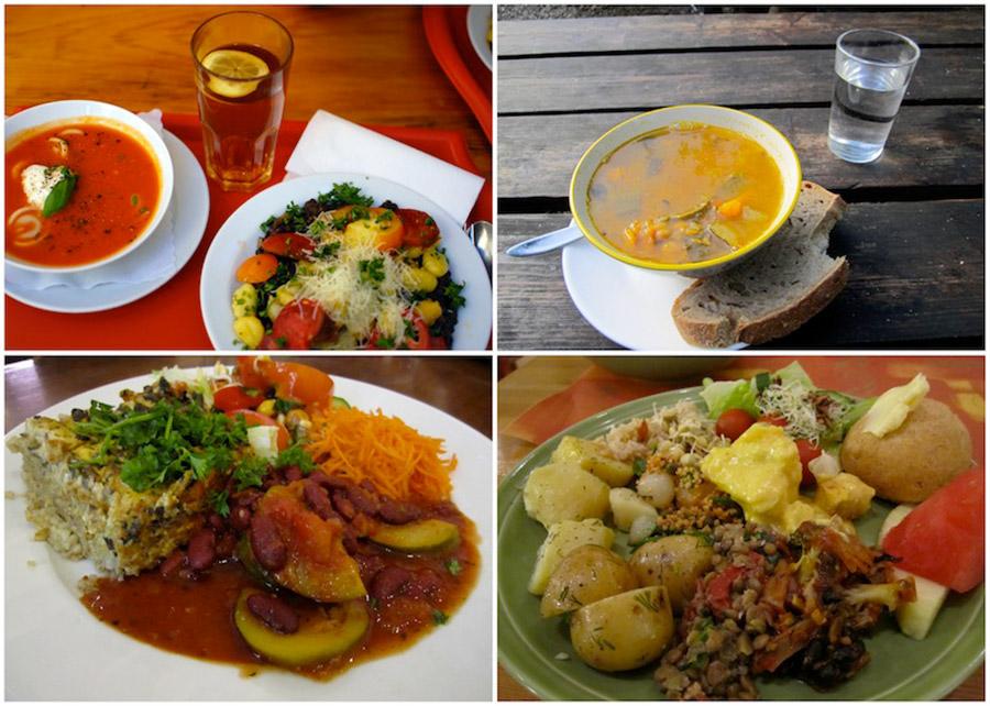 Four amazing vegetarian meals. Clockwise: Naturkost St. Josefs Vienna, Austria / Morgenstedet Copenhagen, Denmark / Silvoplee Helsinki, Finland / Zucchini Helsinki, Finlad