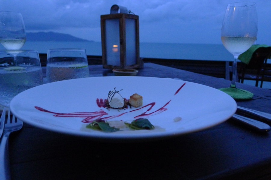 Our dinner at Dining on the Rocks in Koh Samui, Thailand