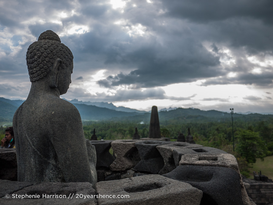 At the top of Borobudur temple in Yogyakarta, Indonesia