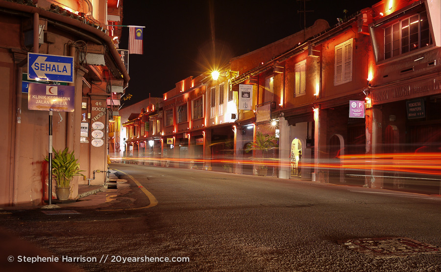 Historic district of Melaka, Malaysia at night