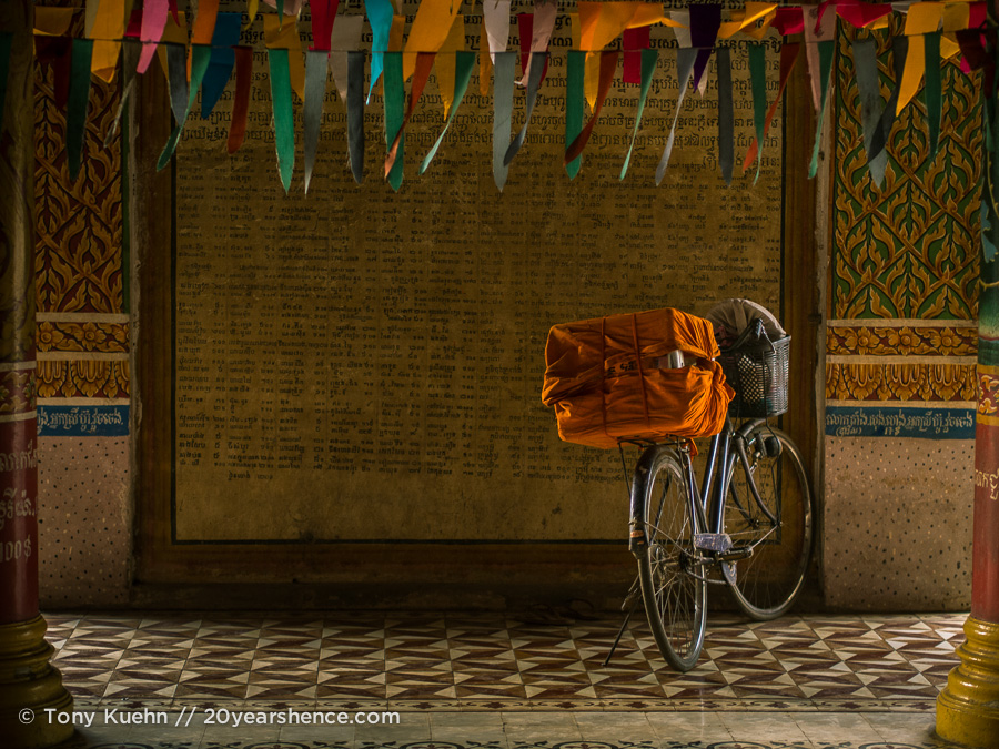 Bicycle at a temple in Kampong Cham, Cambodia