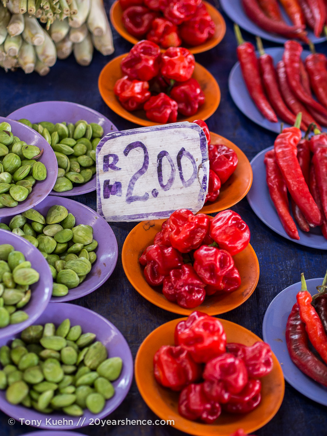 Vegetables in a market in Kuching, Borneo