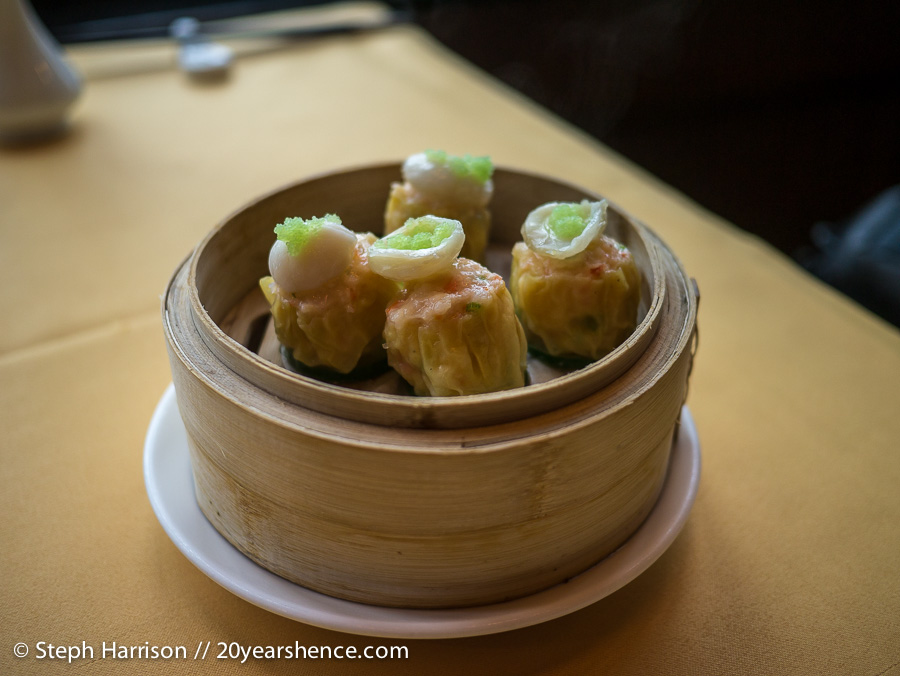 Steamed scallop with minced shrimp siu mai dumplings