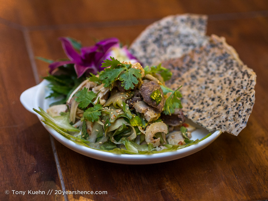 Beef and fig salad with crispy rice crackers
