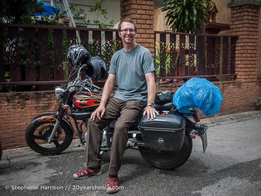 Tony on a motorcycle