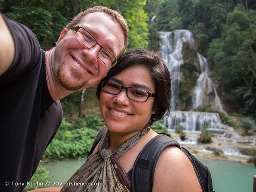 Steph and Tony at Kuangsi Waterfall