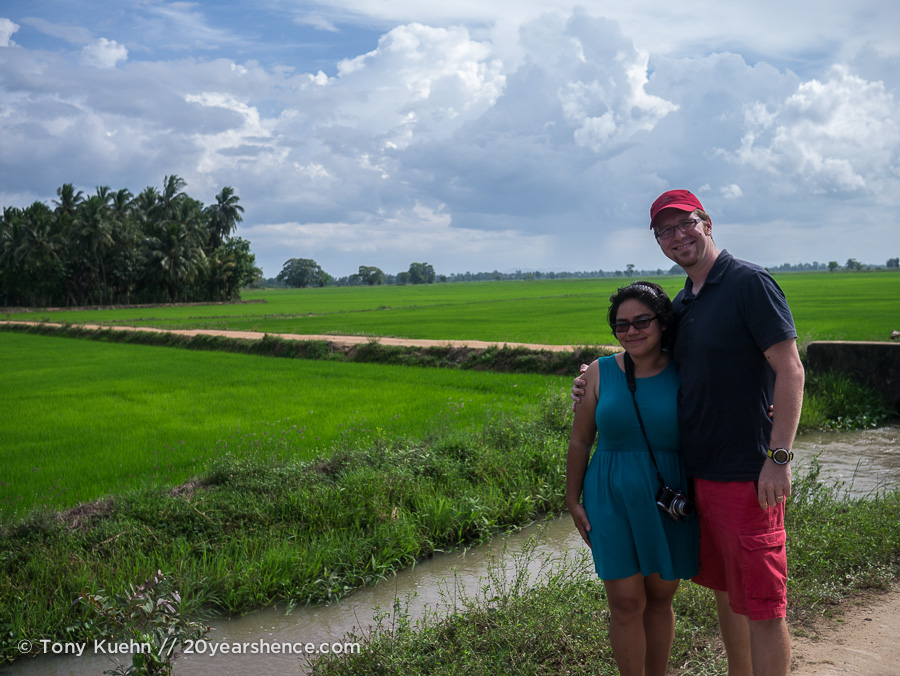 Steph and Tony among the rice paddys near Baticaloa, Sri Lanka