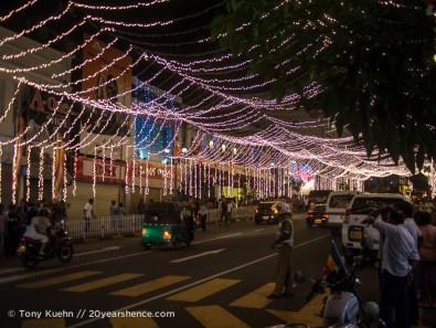 The streets of Kandy at night during Vesak