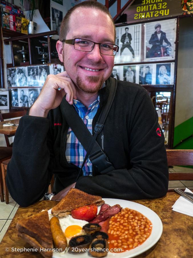 Tony with a full English breakfast