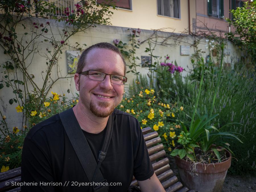 Tony in a park in Pisa