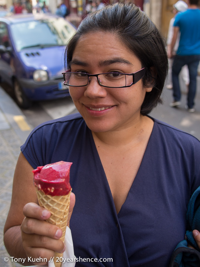 Steph with Raspberry Ice Cream in Paris