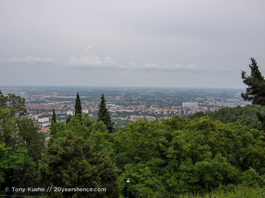 View from the top of San Luca Basillica in Bologna