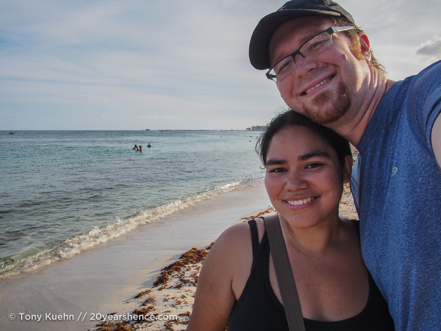 Steph and Tony on the beach in Playa del Carmen