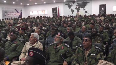جانب من حضور اجتماع ضباط منطقة سبها العسكرية في تمنهنت