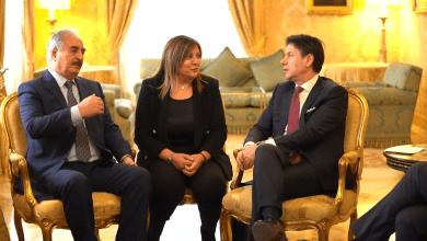 رئيس الوزراء الإيطالي جوزيبي كونتي والقائد العام للجيش الوطني المشير خليفة حفتر - روما