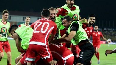 فرحة لاعبي المنتخب التونسي بعد تسجيل آخر ضربة جزاء في شباك غانا وترشحهم للدور ربع النهائي