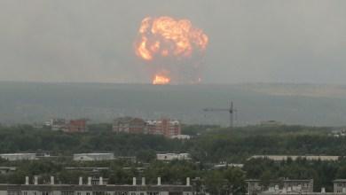 لحظة الانفجار الذي وقع داخل موقع عسكري روسي