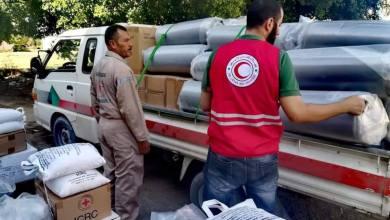 الهلال الأحمر صبراتة يشرع في توزيع السلال الغذائية على النازحين