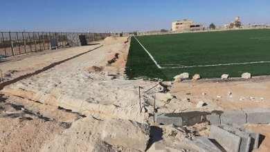 صيانة ملعب خالد بن الوليد في بدر