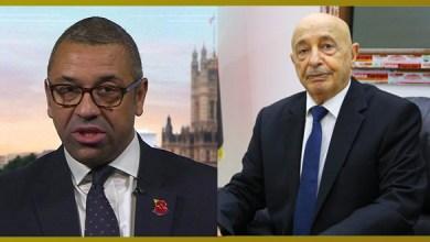 مستجدات الراهن الليبي في اتصال هاتفي لرئيس مجلس النواب مع الوزير البريطاني جيمس كليفرلي