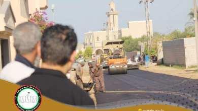 مصراتة.. تعبيد الطريق الرابطة المعهد القومي للأورام بطريق المطار في ضاحية الغيران