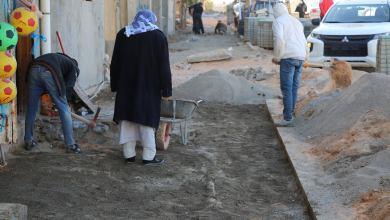 """جانب من أعمال البنية التحتية في منطقة بلوزة"""" التابعة لبلدية أبوسليم -طرابلس"""