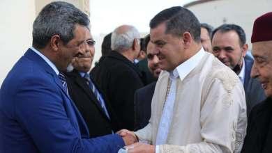 لقاء رئيس الحكومة الليبية الجديدة عبدالحميد أدبيبة مع المستشار عقيلة صالح رئيس البرلمان ومجموعة من النواب في مدينة طبرق