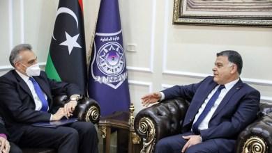 وزير الداخلية العمي خالد مازن يستقبل سفير إيطاليا لدى ليبيا جوزيبي بوتشينو