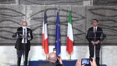 مؤتمر صحفي في روما جمع وزير الخارجية الإيطالي لويجي دي مايو مع نظيره الفرنسي جان إيف لودريان