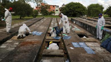 """مقبرة في ساو باولو حيث يتم استخراج عظام الجثث للتوسعة واستيعاب دفن وفيات كورونا- """"رويترز"""""""