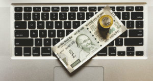 cash on keyboard