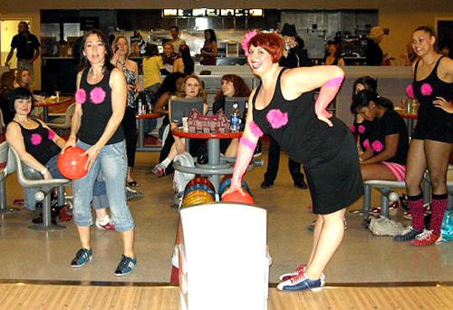 And finally - a shout out to these furry-bosomed ladies; limbering up for a hard night's bowling!  (Kindly Supplied by Jeffrey Millies)