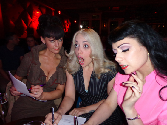 The judges for the Baby Bombshells Competition with their judging faces on. From left to right: Tasia, Peekaboo Pointe and Anna Fur Laxis, 7th June.  ©Miss La Vida