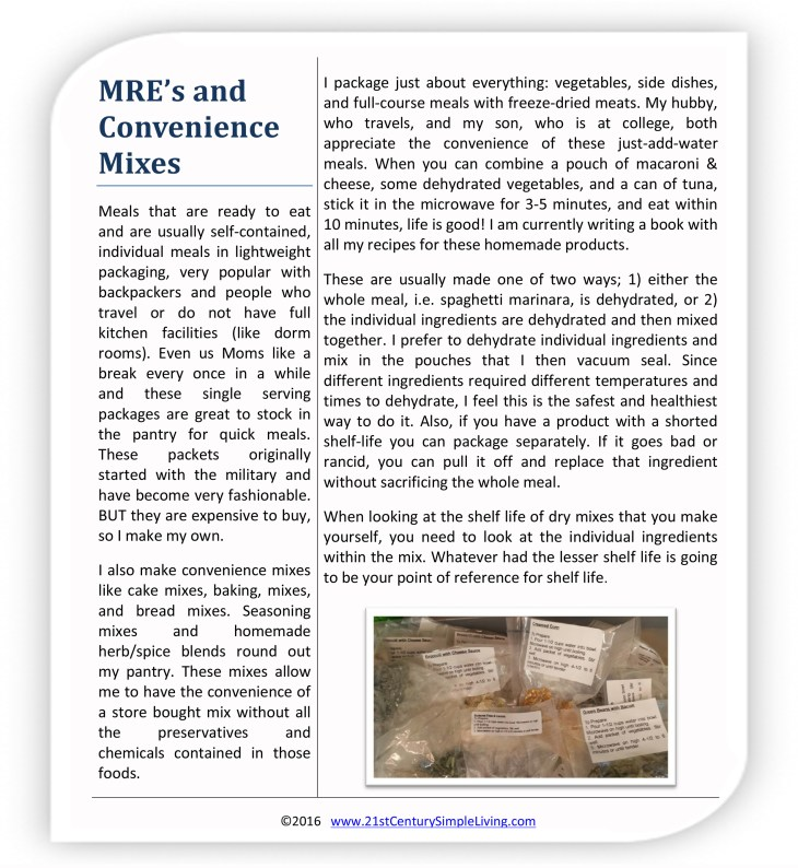MRE's and Convenience Mixes