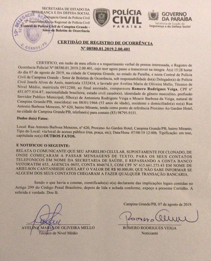 Resultado de imagem para Prefeito Romero Rodrigues vai à polícia denunciar clonagem de seu número celular e aplicativo de mensagens