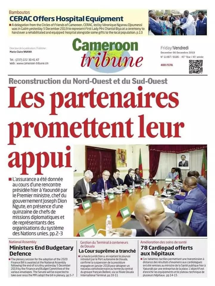Cameroon tribune du 6 dec 2019