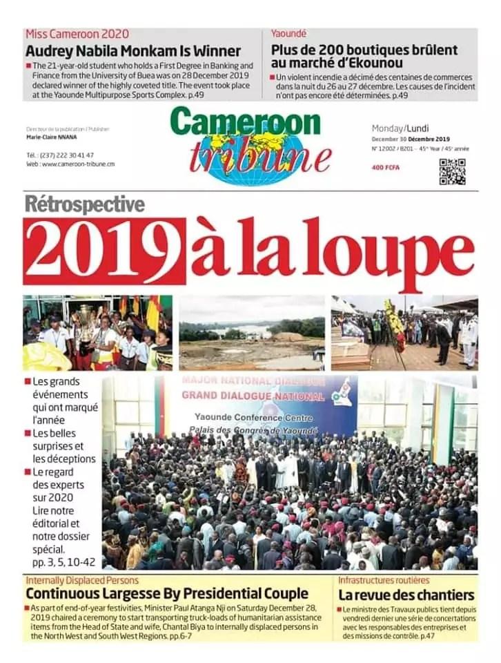 cameroun tribune du 30 decembre 2019