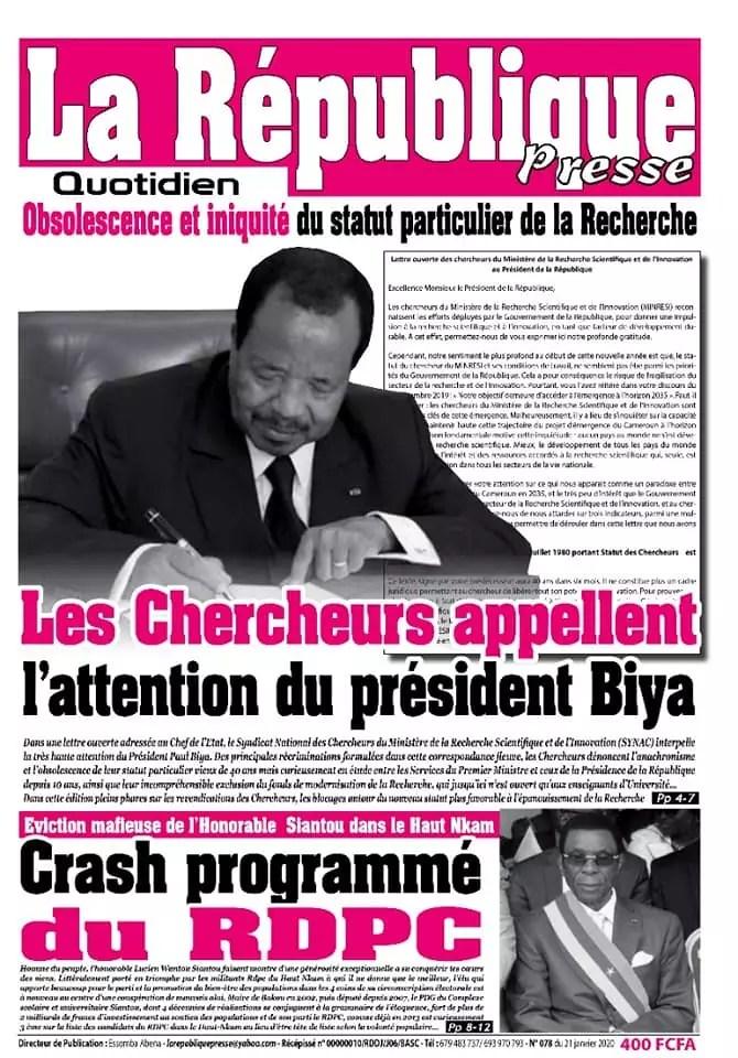 la republique presse du 21 janvier 2020