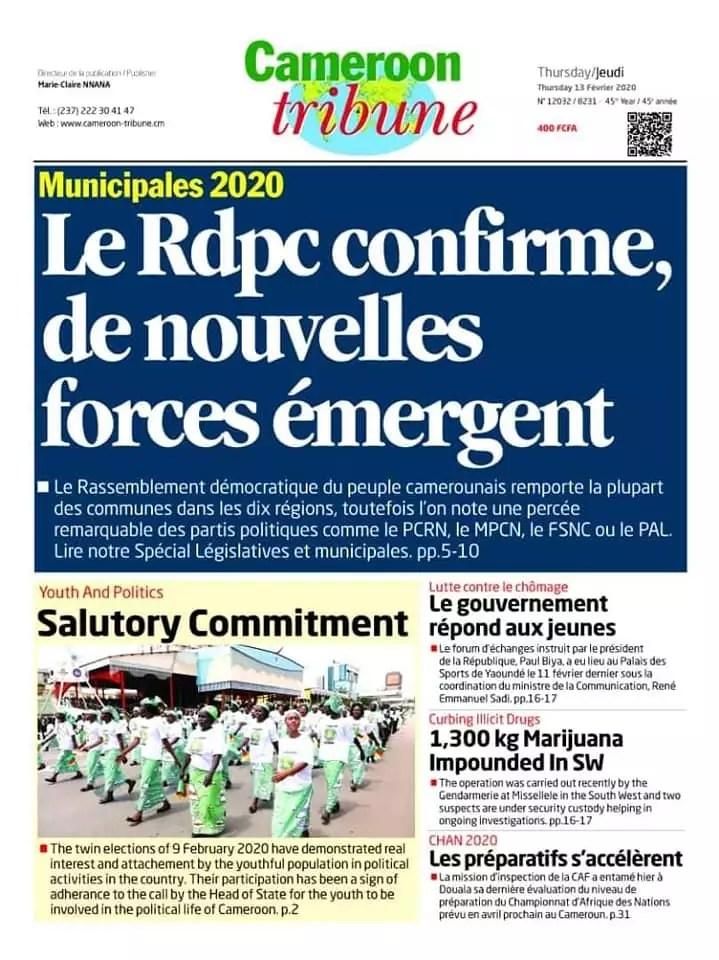 cameroon tribune du 13 fevrier 2020