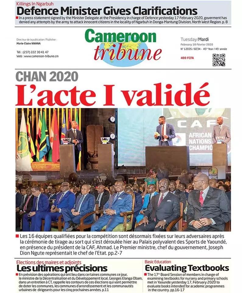 cameroon tribune du 18 fevrier 2020