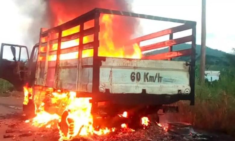 Une camion incendié