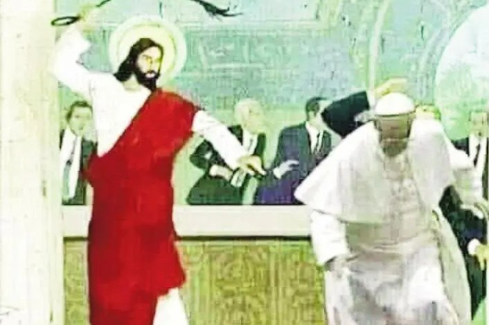 pape François fouetté par jesus