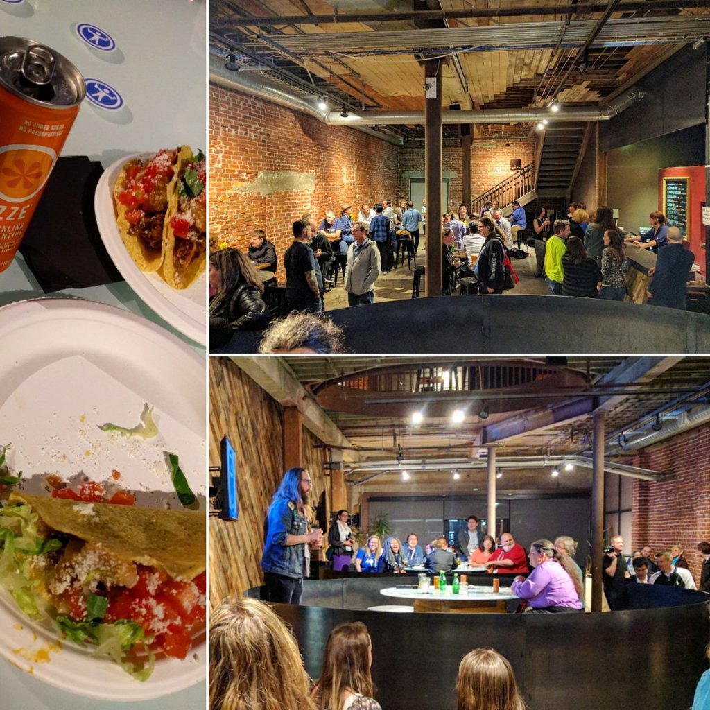 Tacos, and lots of people at Mission Brewery enjoying drinks and social. Billy Gregory can be seen speaking on stage.