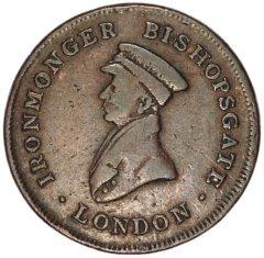 Ironmonger Bishopsgate London on Obverse of 1823 Token