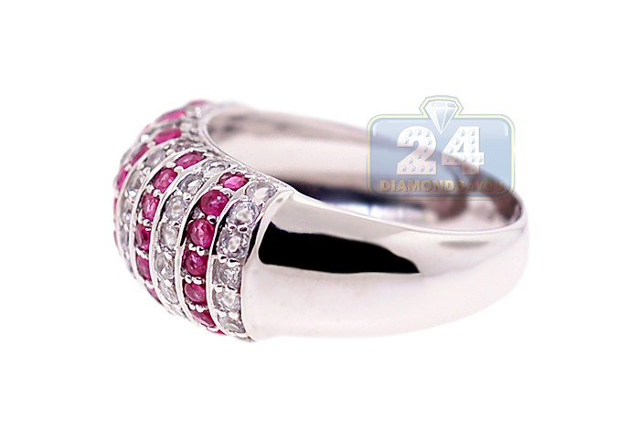 Womens Red Ruby Topaz Gemstone Dome Ring 925 Sterling Silver