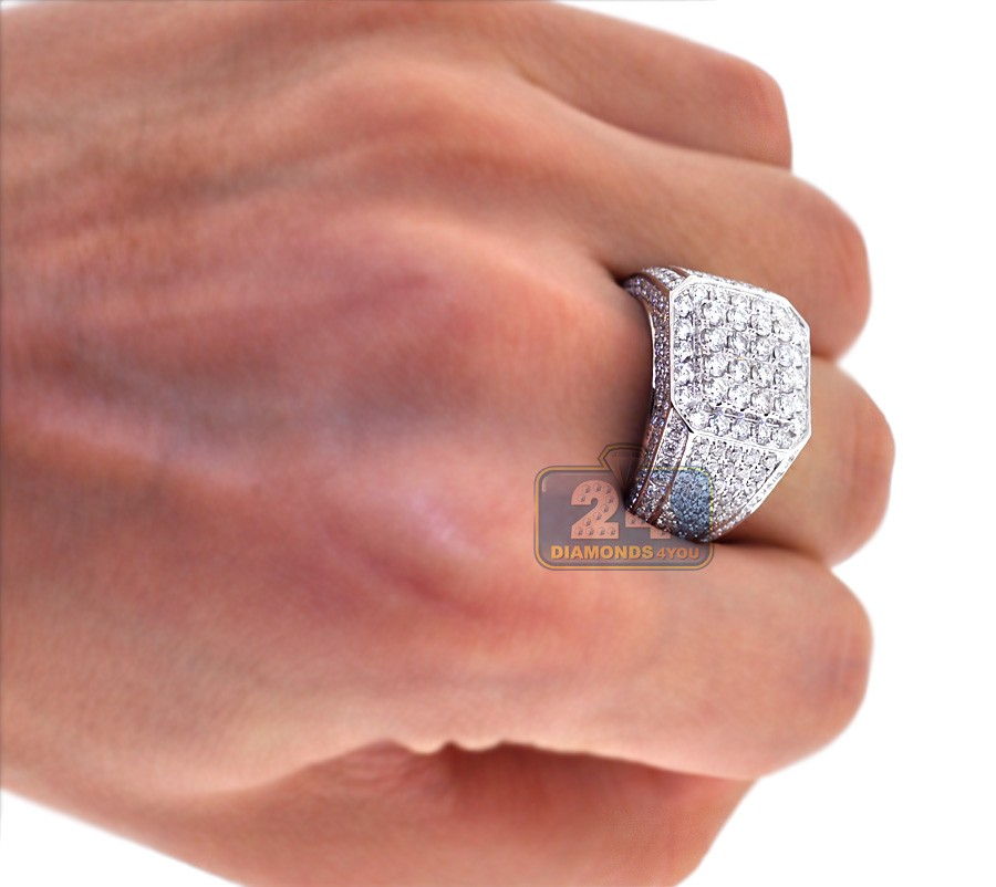 Iced Out Mens Diamond Square Signet Ring 14K White Gold 4