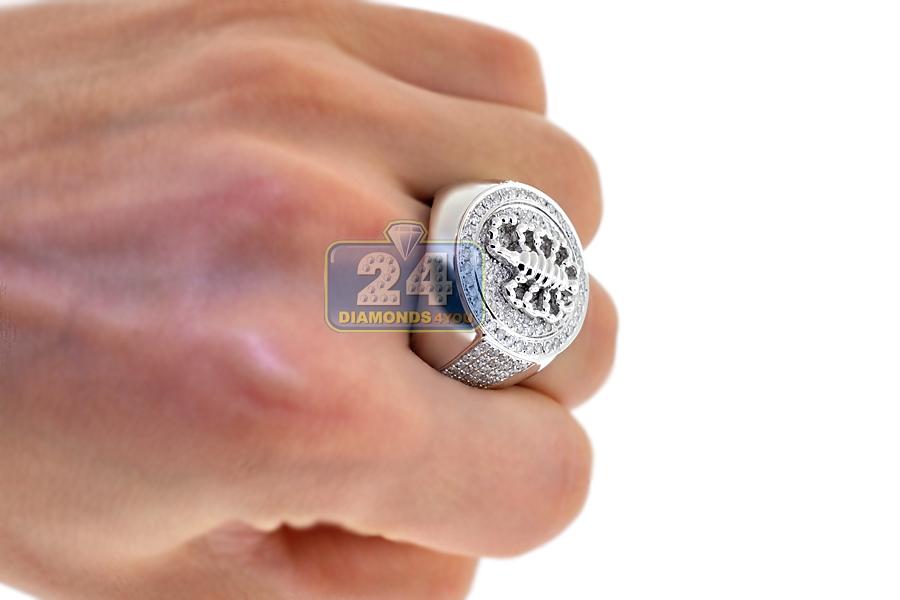 Mens Diamond Scorpion Zodiac Round Ring 14K White Gold 200 Ct