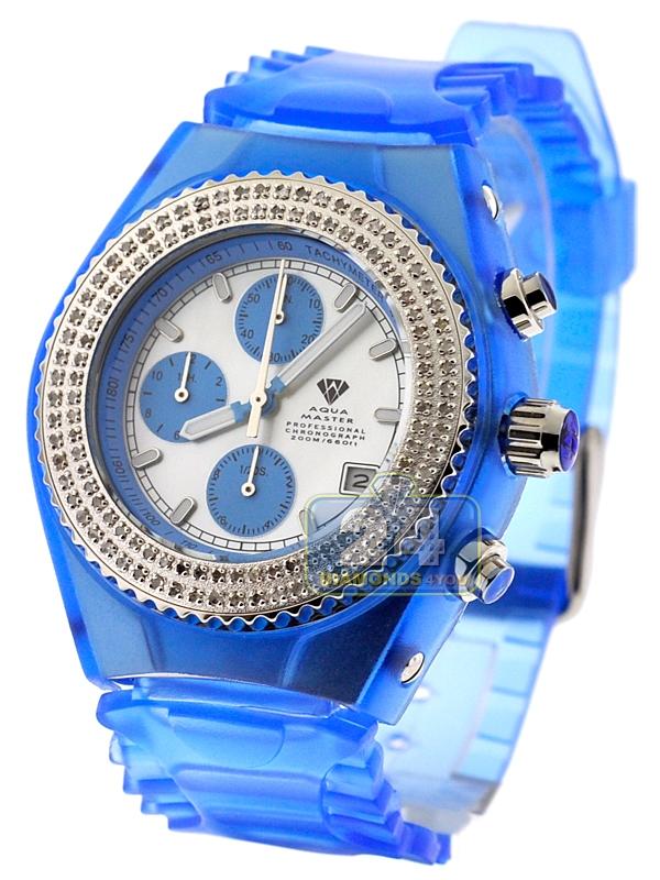 Mens Diamond Blue Watch Aqua Master Sport Plastic 100 Ct